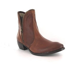 Boots Charline en cuir marron