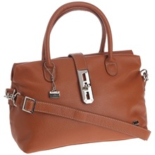Sac shopping en cuir camel
