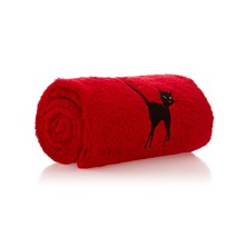 Drap de douche Luxury rouge brodé 70x140