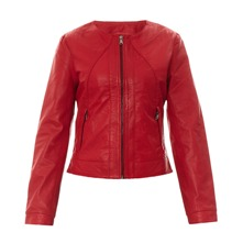 Veste Joy en cuir rouge