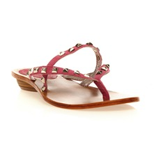 Tongs en cuir fushia