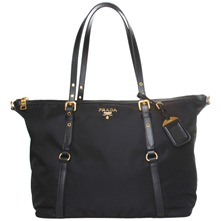Women bags: Black Fabric Buckle Shopper