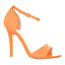 Women footwear: Orange Ankle Strap Shoes 10cm Heel