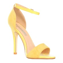 Women footwear: Yellow Ankle Strap Shoes 10cm Heel