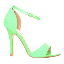 Women footwear: Green Ankle Strap Shoes 10cm Heel