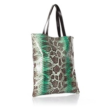 Sac cabas aspect reptile en cuir vert et noir