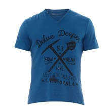 T-shirt col V Graphic Vee bleu