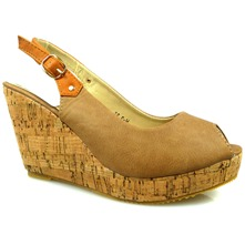 Women footwear: Khaki Open-Toe Cork Wedge Sandals