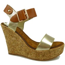 Women footwear: Gold/Tan Cork Wedge Strappy Sandals