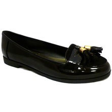 Women footwear: Black Patent Tasselled Penny Loafers