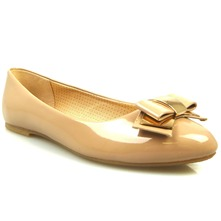 Women footwear: Nude/Gold Bow Pumps