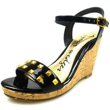 Women footwear: Black/Gold Patent Studded Wedge Sandals