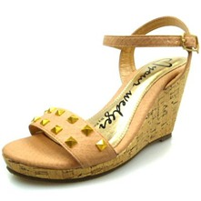 Women footwear: Nude/Gold Studded Wedge Sandals