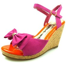 Women footwear: Fuschia Bow Wedge Sandals