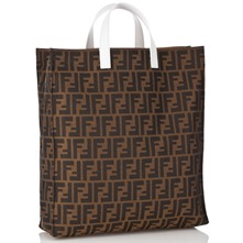 Women bags: Brown/White Fabric Printed Shopper