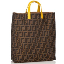 Women bags: Brown/Yellow Fabric Printed Shopper