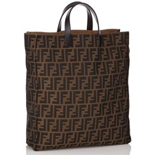 Women bags: Brown Fabric Printed Shopper