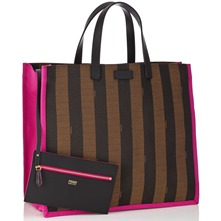 Women bags: Brown/Pink Large Striped Shopper