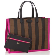 Women bags: Brown/Pink Medium Fabric Striped Tote Bag