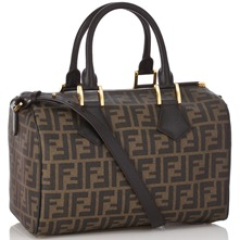 Women bags: Brown Leather Large Printed Bowling Bag