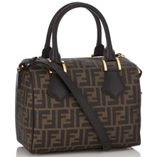 Women bags: Brown Leather Printed Mini Bowling Bag