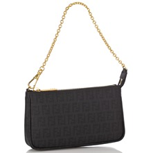 Women bags: Black Leather Printed Evening Bag