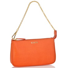 Women bags: Orange Leather Evening Bag