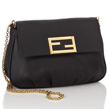 Women bags: Black Leather Mini Pouch Handbag