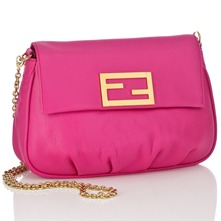 Women bags: Pink Leather Mini Pouch Handbag