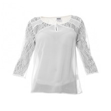 Blouse bi-matire blanche