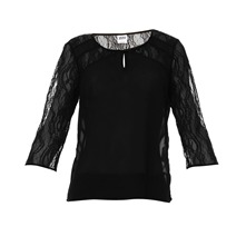 Blouse bi-matire noire