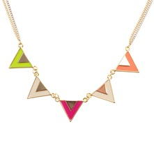 Sautoir multi triangles multicolore