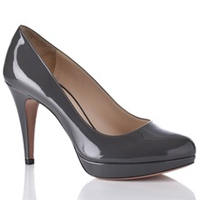 Women footwear: Grey Leather Patent Court Shoes 9cm Heel
