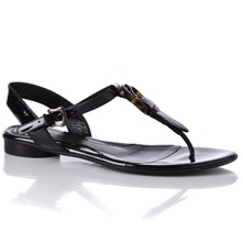 Women footwear: Black Leather Tortoishell Buckle Sandals