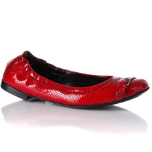 Women footwear: Red Leather Patent/Perforated Pumps
