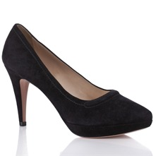 Women footwear: Black Suede Court Shoes 10cm Heel