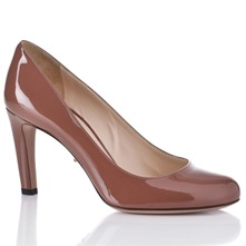 Women footwear: Brown Leather Patent Shoes 8.5cm Heel