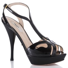 Women footwear: Black Leather Patent Sandals 12cm Heel