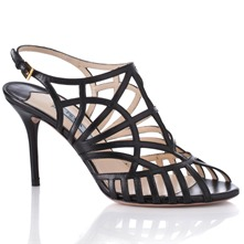 Women footwear: Black Leather Multi Strap Sandals 9.5cm Heel