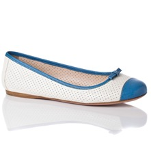 Women footwear: White/Blue Leather Perforated Pumps