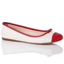 Women footwear: White/Red Leather Perforated Pumps