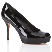 Women footwear: Black Patent Leather Court Shoes 10.5cm Heel
