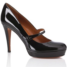 Women footwear: Black Patent Leather Bar Shoes 10.5cm Heel