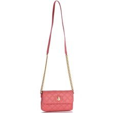 Women bags: Pink Leather Quilted Single Bag