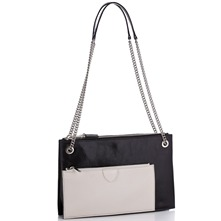 Women bags: Black/Ivory Leather Dollette Handbag
