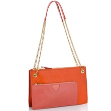 Women bags: Orange/Peach Leather Dollette Handbag
