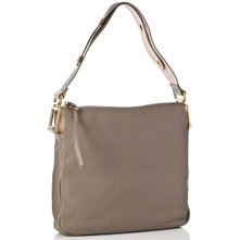 Women bags: Taupe Vanessa Leather Square Shoulder Bag