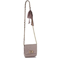 Women bags: Grey Leather Padded Shoulder Bag