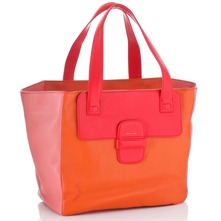 Women bags: Orange/Pink Leather Panel Bucket Bag