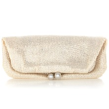 Women bags: Silver Metallic Foldover Bobble Clutch Bag